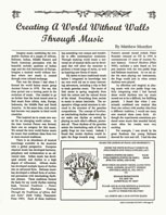 New Avenues Creating a World Without Walls Through Music Article by Matthew Montfort 11-1-94