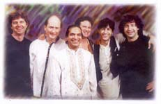 Photo of Ira Stein, Matthew Montfort, Pandit Habib Khan, George Brooks, Alan Kushan, and Danny Gottlieb.