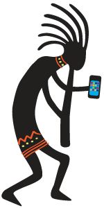 Kokopelli with Phone